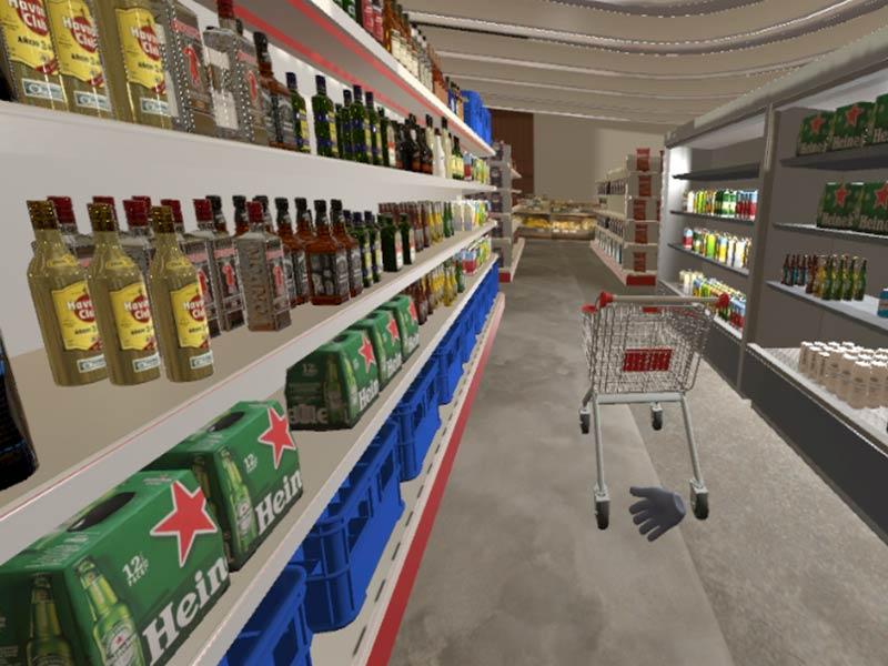 VR scenario supermarket screen